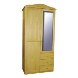 2 ajtós 3 fiókos tükrös szekrény (akasztós vagy válaszfalas)